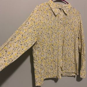 Yellow floral button up